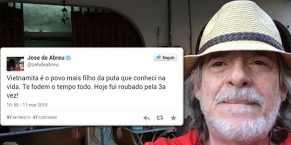 Após xingar povo vietnamita, José de Abreu apaga tweets e se desculpa