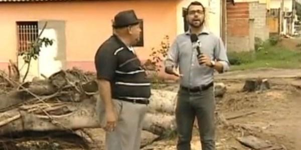 Atrapalhado, jornalista do SBT se irrita com entrevistado em reportagem