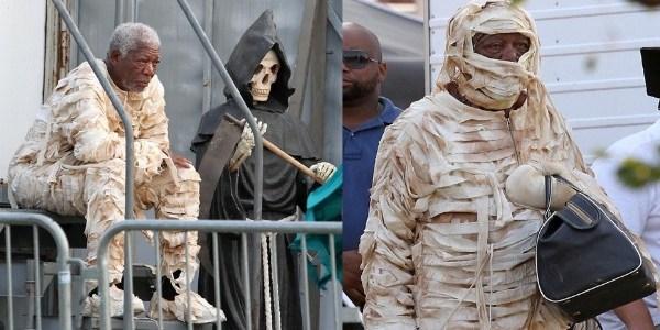 Morgan Freeman é fotografado vestido de múmia em set de filme
