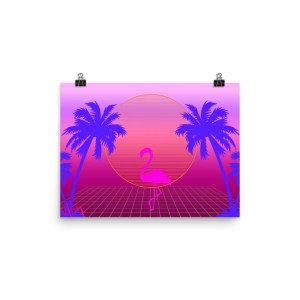 80s retrowave beach purple palm trees pink flamingo sunset poster