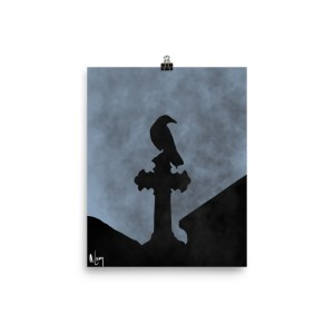 Crow Graveyard cross headstone foggy poster