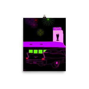 Pearl's Drive In nighttime scene with classic cadillac neon pink, green, red, fireworks poster