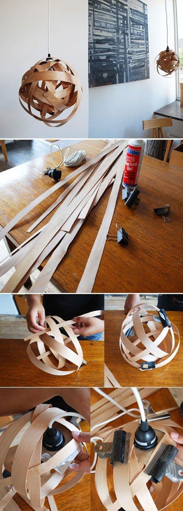 como hacer lamparas de madera artesanales diy