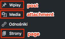 menu wordpressa z typami wbudowanymi