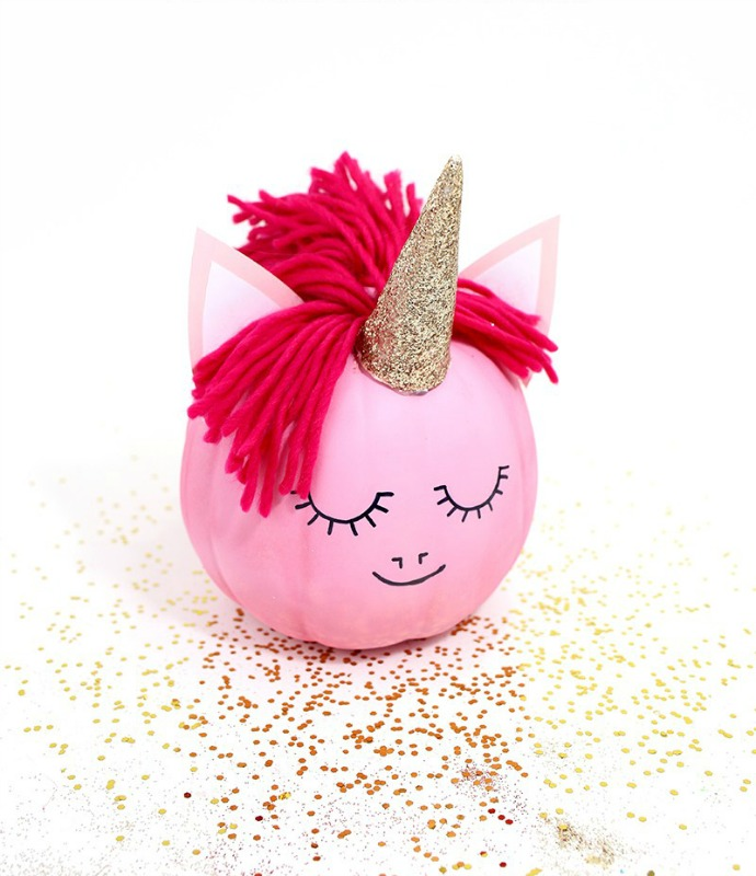 25 No Carve Pumpkin Decorating Ideas   Giggles Galore DIY Unicorn Pumpkin  25 No Carve Pumpkin Decorating Ideas
