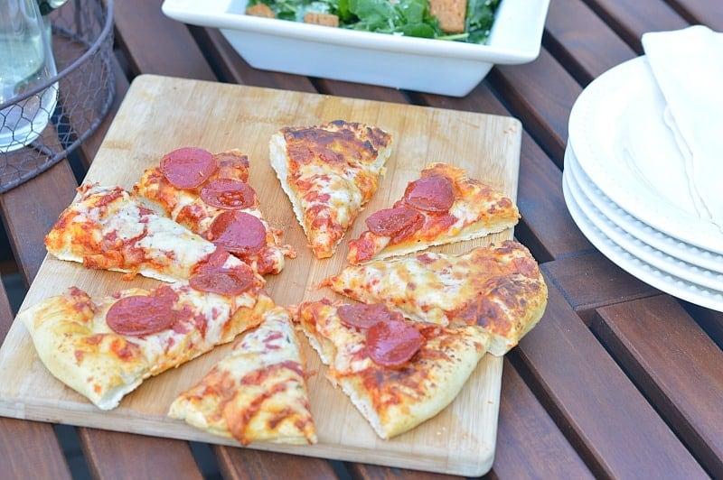 Freschetta Pizza with a delicious kale caesar salad
