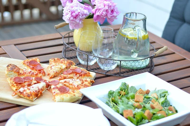 Pizza and Kale Caesar Salad - a delicious recipe that I must try some night soon!