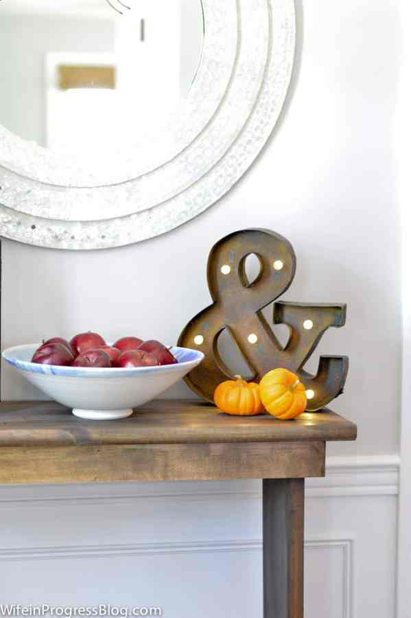 Fall decorating ideas for your foyer - add apples and baby pumpkins