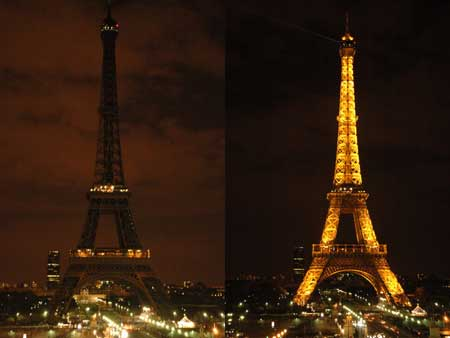 Earth Hour 2009 Eiffel Tower