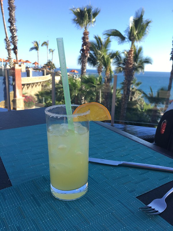 My first margarita in Mexico, overlooking the ocean.