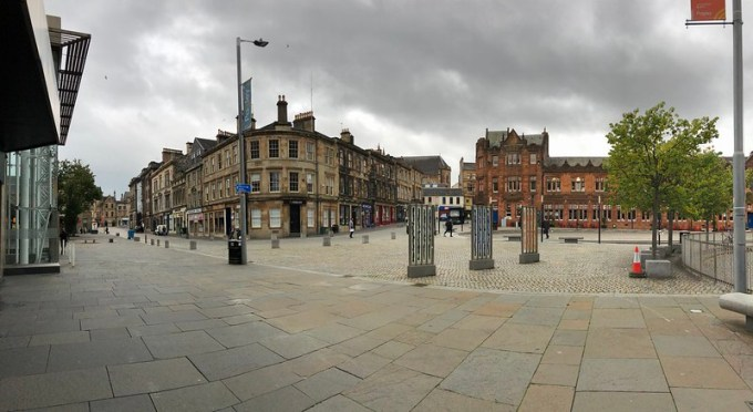 A plaza outside of Paisley Gilmour Station