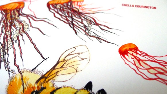 Cover detail, Love Letter to Biology 250 (Chella Courington), art by Jonathan Rountree