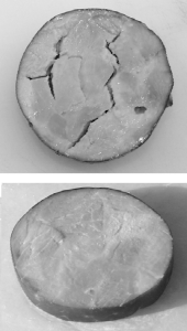 Figure 1: Example of the cracked texture that occurs in processed meats when too high of a level of PSE meat is utilized. The top sample demonstrates cracking, while the bottom sample demonstrates desirable texture.