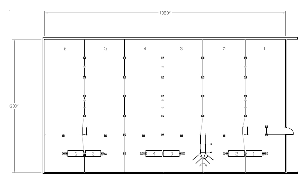 Illustration 3. Layout of a 600-Head Wean-to-Finish Facility in Entry Position – Gates are arranged to create six, 100-head pens in the 600-head barn during the early starting period. This allows operators the option of feeding different starter diets to different sized pigs.