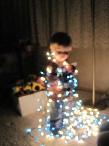 This is what happens when you leave your one-year-old alone with your artsy sister and a camera around Christmas time.