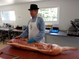 Master Butcher Keith Fisher showing us Hambassadors how to get the best from half a pig.
