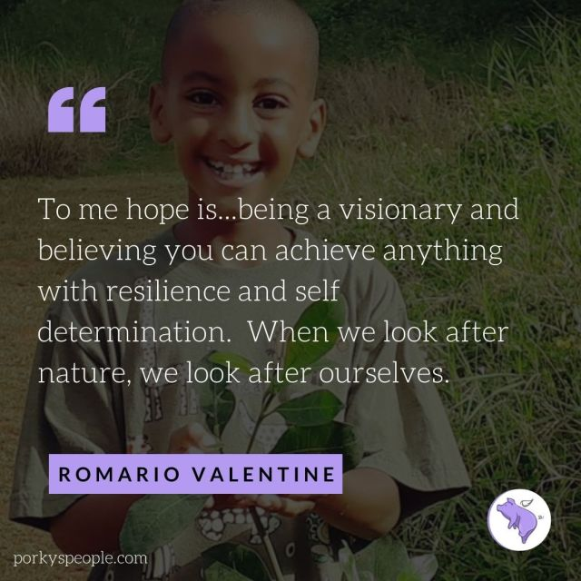 An inspirational quote from Romario Valentine about nature and determination.