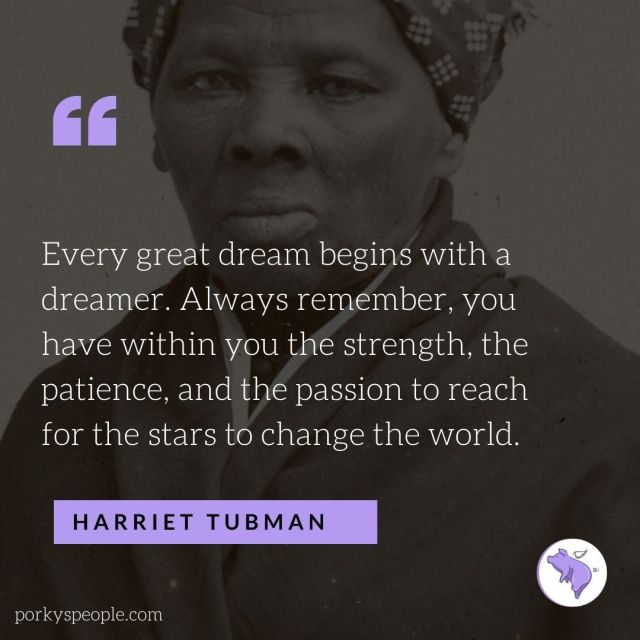 An inspirational quote from Harriet Tubman about dreaming and changing the world.