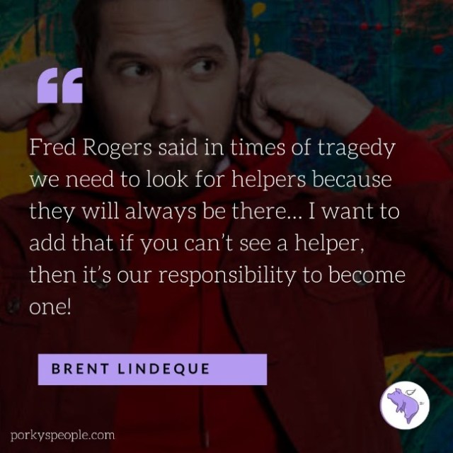 An Inspirational quote from Brent Lindeque talking about helping others.