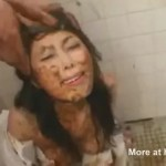 Submissive japanse used as human toilet covered of shit