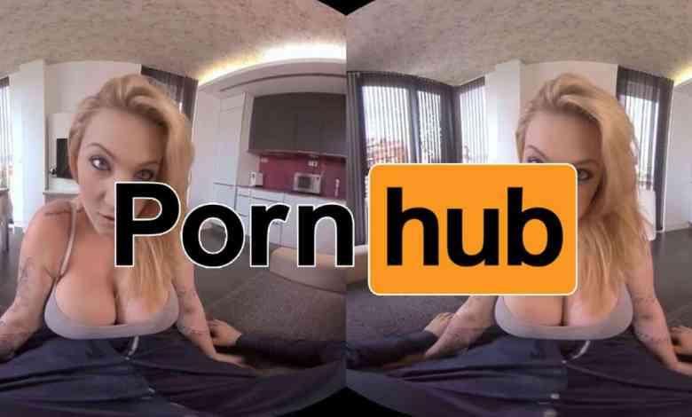 girl topless with pornhub vr logo overlay