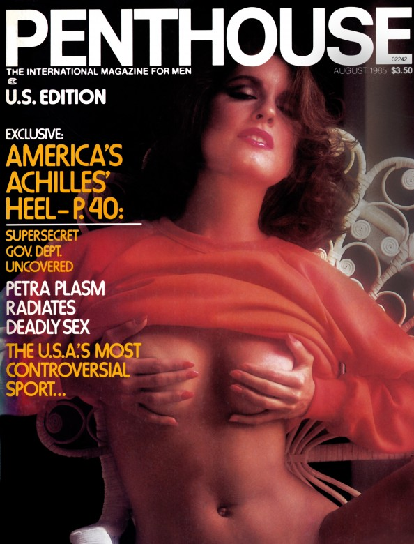 Angela Nicholas on the cover of Penthouse Magazine August 1985