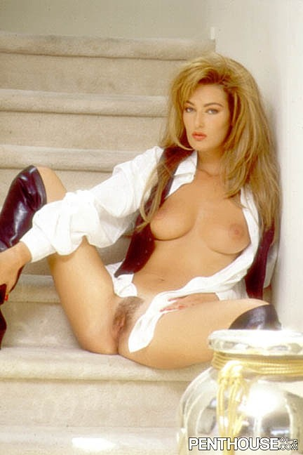 Anja Josefsen posing nude for the December 1992 issue of Penthouse
