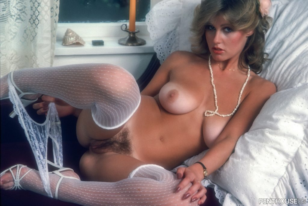 Betsy Dobson posing nude for the November 1980 issue of Penthouse