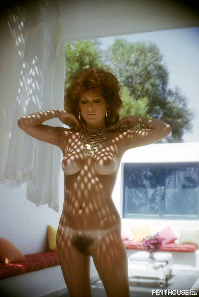 Bonnie Dee Wilson posing nude for the November 1975 issue of Penthouse