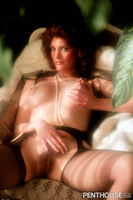 Donna Barnes posing nude for the August 1982 issue of Penthouse