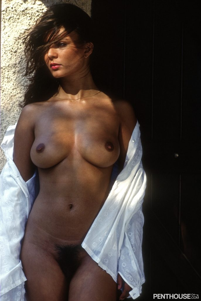 Julia Perrein posing nude for the January 1982 issue of Penthouse