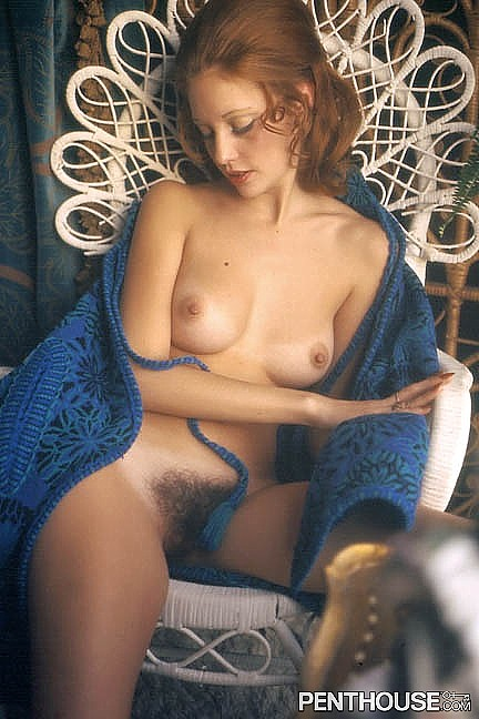 Karen Sather posing nude for the February 1973 issue of Penthouse