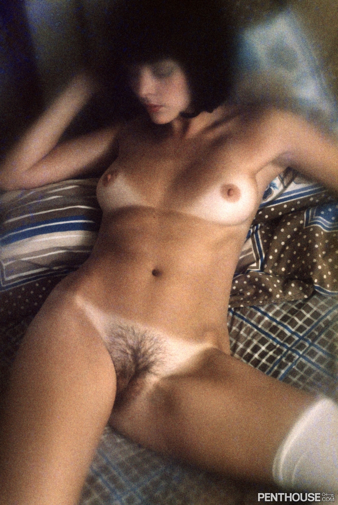 Laure Favie posing nude for the January 1976 issue of Penthouse