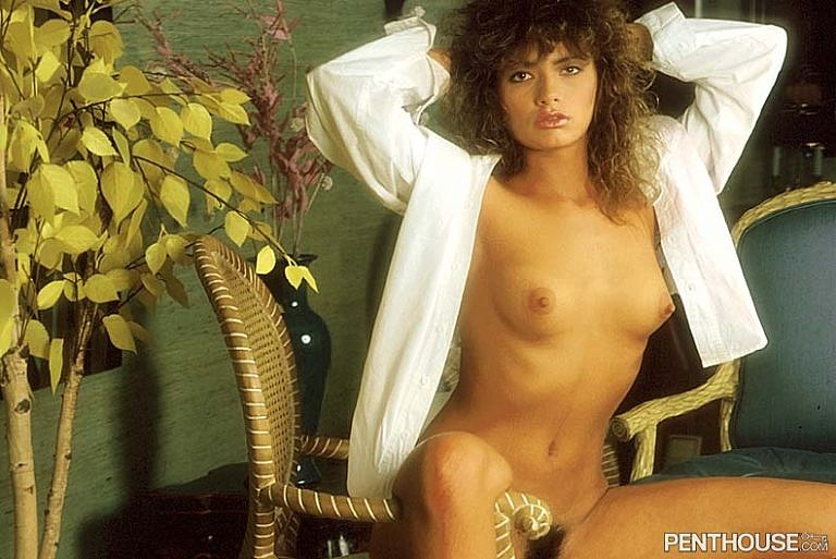 Linda Johnson posing nude for the February 1987 issue of Penthouse