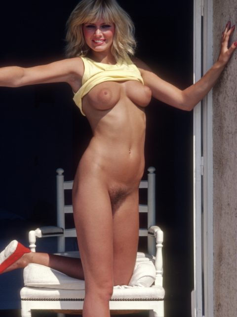 Sharon Axley posing nude for the March 1982 issue of Penthouse