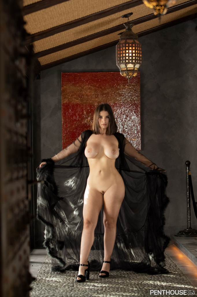 LaSirena69 stripping nude out of lingerie in her February 2021 Penthouse Pet Of The Month photo spread 006