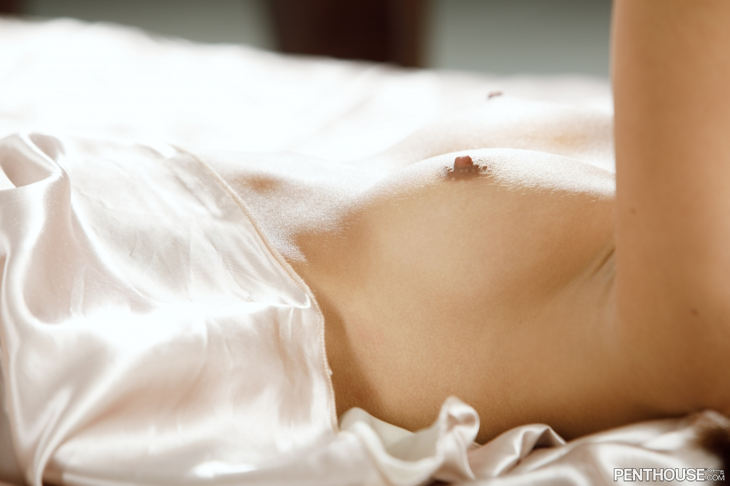 Vanna Bardot nude on satin sheets in her January 2021 Penthouse Pet Of The Month photo spread 006