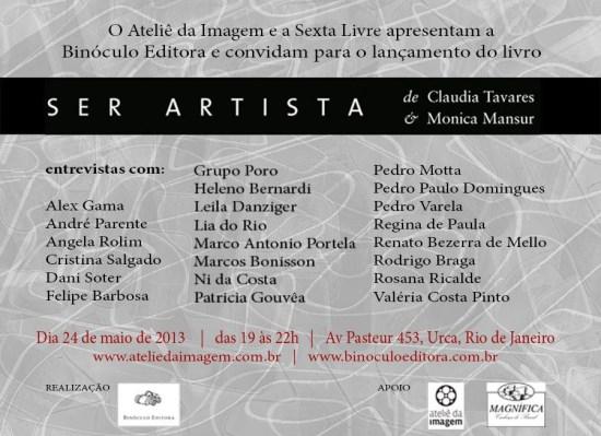 Lançamento do livro Ser Artista no Rio de Janeiro