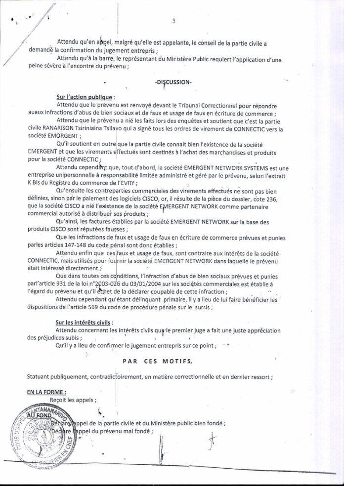 RANARISON Tsilavo contre Solo arret cour dappel antananarivo du 13 mai 2016 Page3 - La totalité des décisions de justice condamnant Solo
