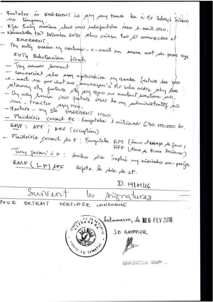 RANARISON Tsilavo extrait plumitif du 8 décembre 2015 Page3 - La totalité des décisions de justice condamnant Solo