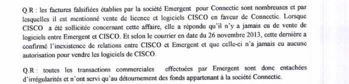 Traduction française de RANARISON Tsilavo auprès du juge dinstruction le 3 septembre 2015 - Le grossiste WESTCON autorisé par CISCO de vendre des produits CISCO à EMERGENT qui les cède à CONNECTIC