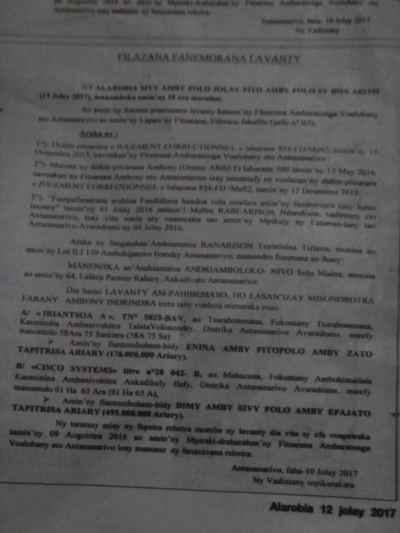 avis de vente aux enchères du 19 juillet 2017 Page1 768x1024 - RANARISON Tsilavo vient de publier ce 12 juillet 2017 l'avis des ventes aux enchères des biens de Solo pour le 19 juillet 2017