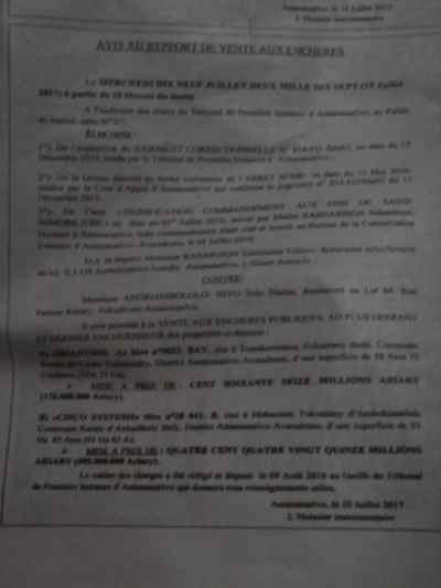 avis de vente aux enchères du 19 juillet 2017 Page2 768x1024 - RANARISON Tsilavo vient de publier ce 12 juillet 2017 l'avis des ventes aux enchères des biens de Solo pour le 19 juillet 2017