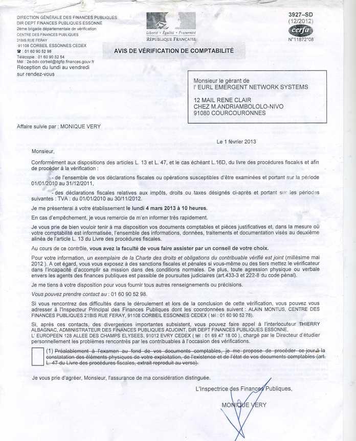 avis de verification fiscale DE 2010 A 2012 de la société EMERGENT - 59.596 euros de bénéfices déclarés pour Solo et EMERGENT de 2009 à 2012, validé par un contrôle  fiscal en France en 2013