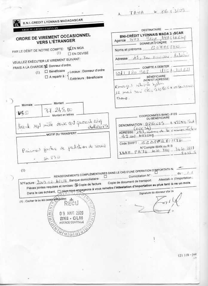 les trois premiers virements001 - En février 2009, RANARISON Tsilavo établit le premier bon de commande des produits CISCO  achetés à la société WESTCON Africa COMSTOR par EMERGENT NETWORK