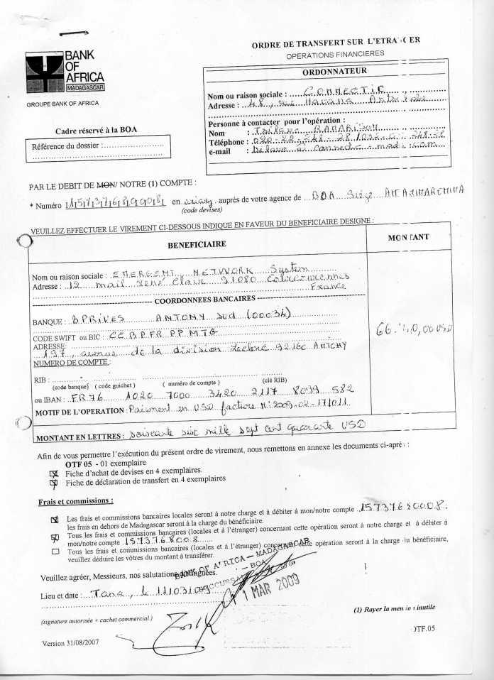 les trois premiers virements003 - En février 2009, RANARISON Tsilavo établit le premier bon de commande des produits CISCO  achetés à la société WESTCON Africa COMSTOR par EMERGENT NETWORK