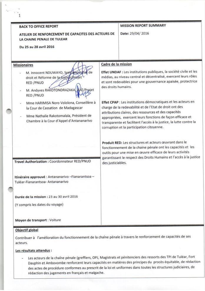 PNUD RED atelier de renforcement de capacités des acteurs de la chaîne pénale de tuléar avril 2016 Page 1 - Sans motivation est le jugement du tribunal correctionnel d'Antananarivo qui condamne Solo à 2 ans de prison avec sursis et 1.500.000.000 ariary de dommages intérêts au profit de RANARISON Tsilavo