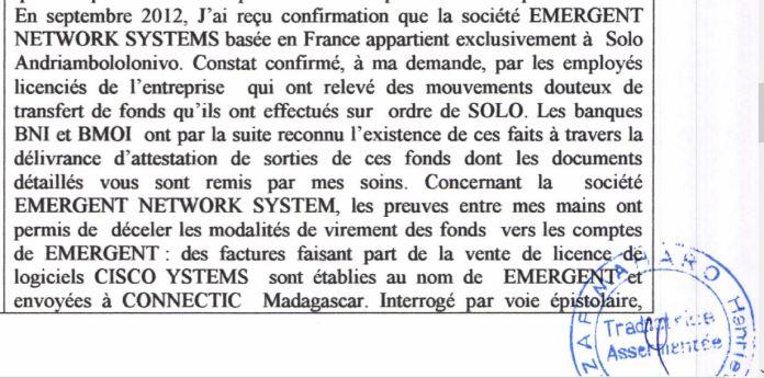 RANARISON Tsilavo affirme devant lOPJ malgache quil ne connaît ENS quen septembre 2012 1 - Ce n'est qu'en septembre 2012, que RANARISON Tsilavo reçoit la confirmation que la société française EMERGENT NETWORK appartient exclusivement à Solo