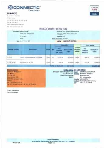 RANARISON Tsilavo ont signé les bons de commande de EMERGENT pour WESTCON Africa Page12 - Les BC des produits CISCO achetés chez WESTCON COMSTOR par EMERGENT NETWORK pour CONNECTIC sont signés par RANARISON Tsilavo