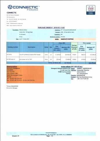 RANARISON Tsilavo ont signé les bons de commande de EMERGENT pour WESTCON Africa Page12 - Le 4 mars 2009, RANARISON Tsilavo établit la convention de partenariat pour l'achat des produits CISCO par la société EMERGENT NETWORK